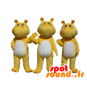3 yellow and white hippo mascots