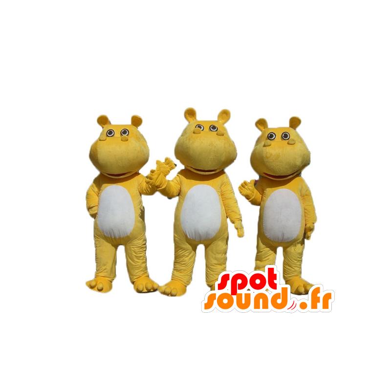 3 yellow and white hippo mascots - MASFR24507 - Mascots hippopotamus