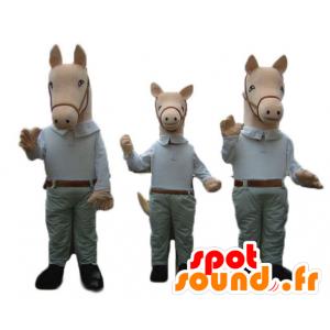 3 mascotte cavalli, vestiti in una camicia e pantaloni - MASFR24510 - Cavallo mascotte