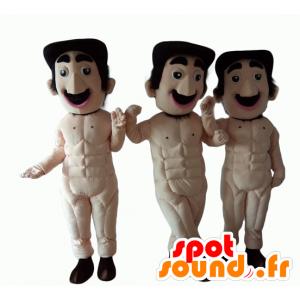 3 mascottes d'hommes moustachus, entièrement nus - MASFR24516 - Mascottes Homme