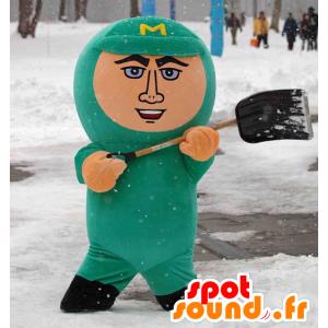 Maruyaman maskot, mand i grøn jumpsuit - Spotsound maskot