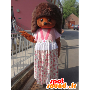 Mascote Sylvanian, ouriço marrom com um vestido rosa - MASFR25003 - Yuru-Chara Mascotes japoneses