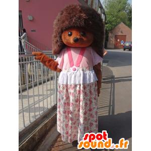 Sylvanian maskot, brun pindsvin med en lyserød kjole -