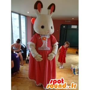 Mascot Sylvanian familie, hvit kanin i en rød kjole - MASFR25004 - Yuru-Chara japanske Mascots
