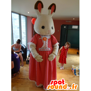 Mascot Sylvanian familie, wit konijn in een rode jurk - MASFR25004 - Yuru-Chara Japanse Mascottes