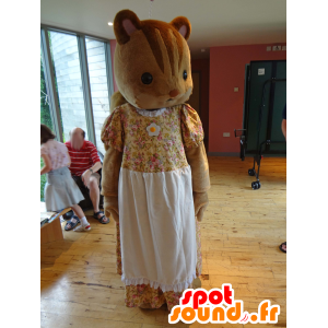Mascot Sylvanian familie av brun ekorn i gul kjole - MASFR25005 - Yuru-Chara japanske Mascots