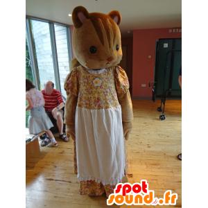 Maskot af familien Sylvanian, brun egern i gul kjole -