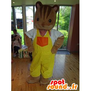 Mascotte de la famille Sylvanian, écureuil en salopette jaune - MASFR25006 - Mascottes Yuru-Chara Japonaises