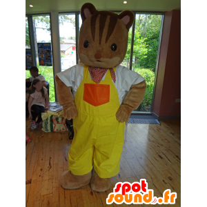 Família Mascot Sylvanian no esquilo macacão amarelo - MASFR25006 - Yuru-Chara Mascotes japoneses