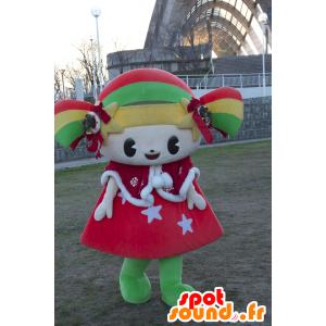 マスコットキララちゃん、カラフルな女の子、笑顔の人形-MASFR25008-日本のゆるキャラのマスコット