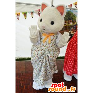 Mascotte de la famille Sylvanian, chat blanc en robe - MASFR25010 - Mascottes Yuru-Chara Japonaises