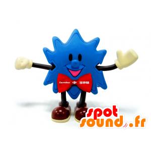 Blå stjärnmaskot med röd fluga - Spotsound maskot