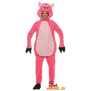 Roze en wit varken mascotte - MASFR25013 - voorraadvermindering