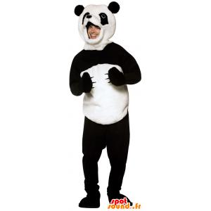 Mascot svart og hvit panda, myk og hårete - MASFR25014 - lagernedbygging