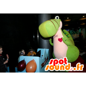 Steven mascote, dinossauro verde e rosa, gigante e bonito - MASFR25017 - Yuru-Chara Mascotes japoneses