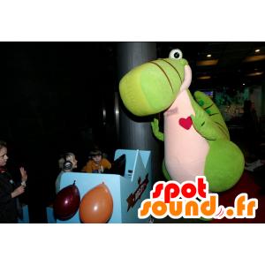 Steven maskot, grøn og lyserød dinosaur, kæmpe og sød -
