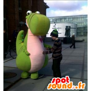 Steven mascotte, dinosauro verde e rosa, gigante carino - MASFR25017 - Yuru-Chara mascotte giapponese