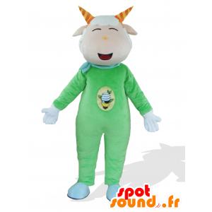 Grøn gede maskot, lyserød og hvid ged, klædt i grøn - Spotsound