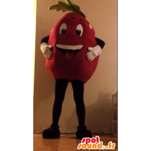 Mascot kæmpe jordbær, rød og hvid, prikker - Spotsound maskot