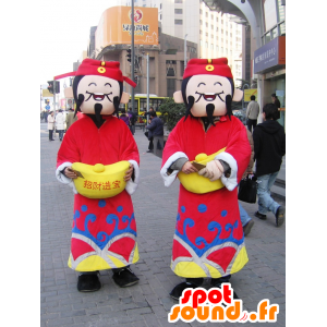 2 Japanin maskotteja Shanghai perinteisessä asussa - MASFR25020 - Mascottes Yuru-Chara Japonaises