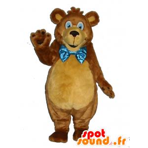 Brun teddy maskot, myk, med en sløyfe - MASFR25021 - lagernedbygging