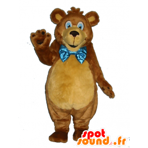 Brown orsacchiotto mascotte, morbido, con una cravatta a farfalla - MASFR25021 - Collant