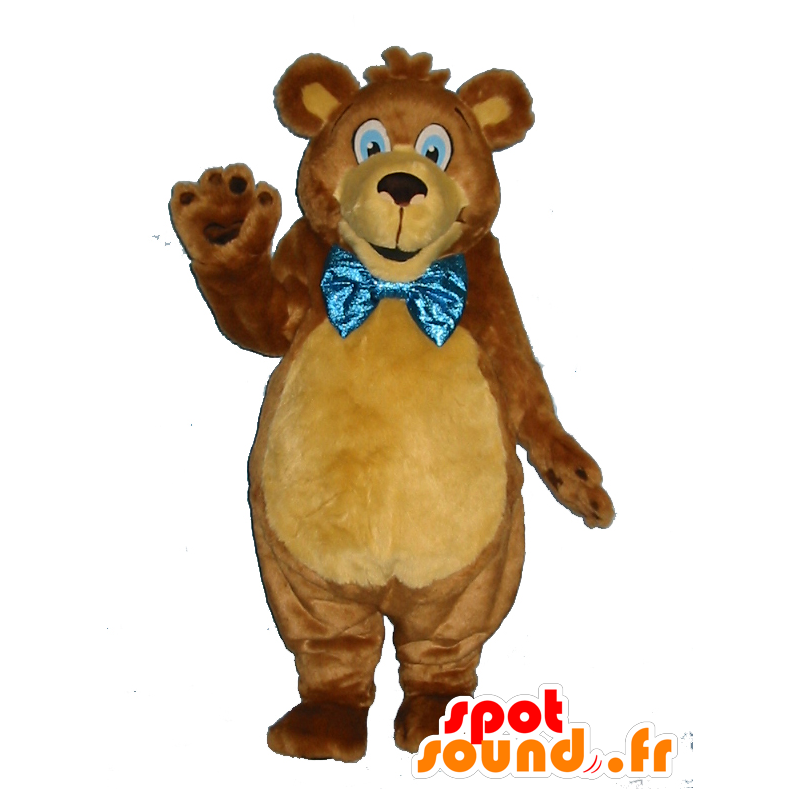 Brown teddy mascot, soft, with a bow tie - MASFR25021 - Pantyhose