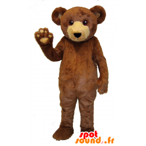 ブラウンとベージュのクマのマスコット、柔らかくて毛深い-MASFR25022-クリアランス