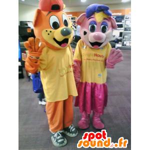 Maskotteja Billy ja Lilly, kaksi karhua, yksi vaaleanpunainen ja yksi oranssi - MASFR25023 - Mascottes Yuru-Chara Japonaises