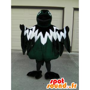 Hackspettmaskot, tricolor fågel, grön, vit och svart -