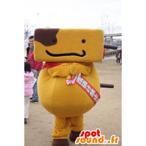 Kushitan maskot, gul og brun mand - Spotsound maskot kostume