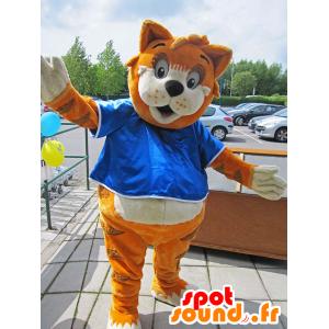 Mascotte de renard tigré, orange, marron et blanc - MASFR25029 - Destockage