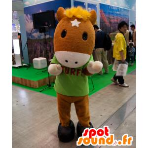 Mascotte de Turfy, poulain marron avec une crinière jaune - MASFR25030 - Mascottes Yuru-Chara Japonaises