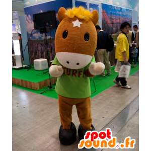 Mascot Turfy, bruin met een veulen gele manen - MASFR25030 - Yuru-Chara Japanse Mascottes