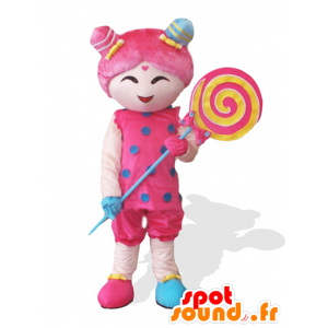 Candy girl maskot, lyserød pige med en kæmpe slikkepind -
