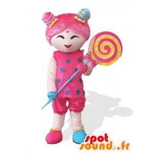 Menina rosa Candy Girl mascote com um pirulito gigante - MASFR25032 - Yuru-Chara Mascotes japoneses