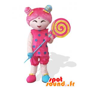 Mascotte Candy Girl rosa ragazza con un lecca-lecca gigante - MASFR25032 - Yuru-Chara mascotte giapponese
