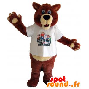 Mascot brown and beige bear, fox blue eyes