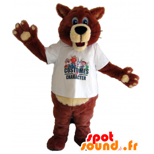 Marrone mascotte e l'orso beige, volpe blu occhi - MASFR25033 - Collant