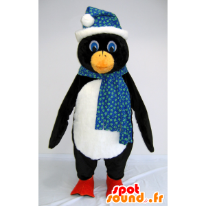 Black and white penguin mascot with a scarf and hat - MASFR25034 - Yuru-Chara Japanese mascots