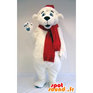 Mascotte d'ours blanc, d'ours polaire avec écharpe et bonnet - MASFR25035 - Destockage