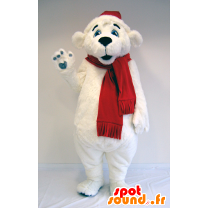 Polar Bear mascot polar bear with scarf and hat - MASFR25035 - Pantyhose