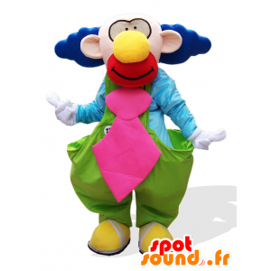 Mascot palhaço engraçado e colorido com cabelo azul - MASFR25036 - Yuru-Chara Mascotes japoneses