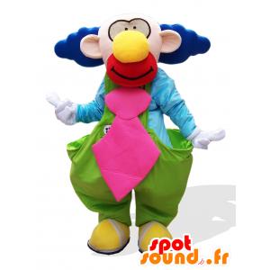 Rolig och färgglad clownmaskot, med blått hår - Spotsound maskot