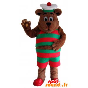 Brun bjørnemaskot, i rød og grøn sømandstøj - Spotsound maskot