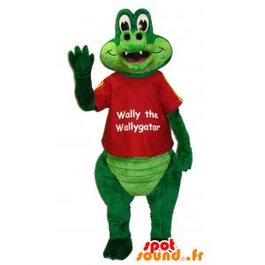ウォーリー・ザ・ウォリゲーターのマスコット、緑のワニ-MASFR25039-日本のゆるキャラのマスコット