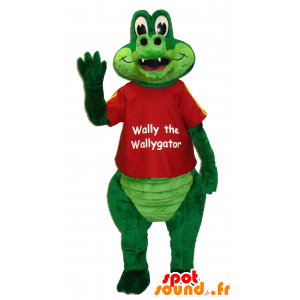 Maskotti Wally Walygator, vihreä krokotiili - MASFR25039 - Mascottes Yuru-Chara Japonaises