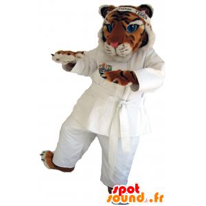 Tiger μασκότ τρίχρωμη σημαία στα λευκά κιμονό - MASFR25040 - Yuru-Χαρά ιαπωνική Μασκότ