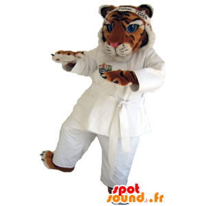 Tiger tricolor mascote no quimono branco - MASFR25040 - Yuru-Chara Mascotes japoneses