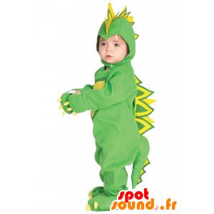 マスコット緑と黄色の恐竜、フル変装 - MASFR25043 - 子供のためのマスコット